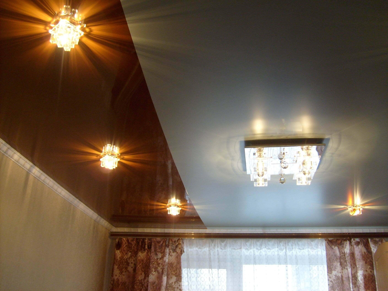 Двухцветный потолок фото