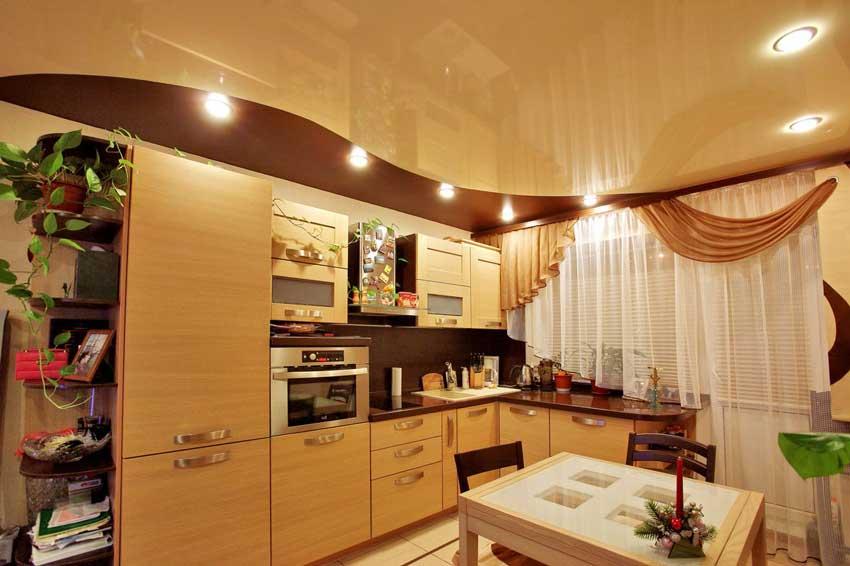 Потолок маленькой кухни фото дизайн