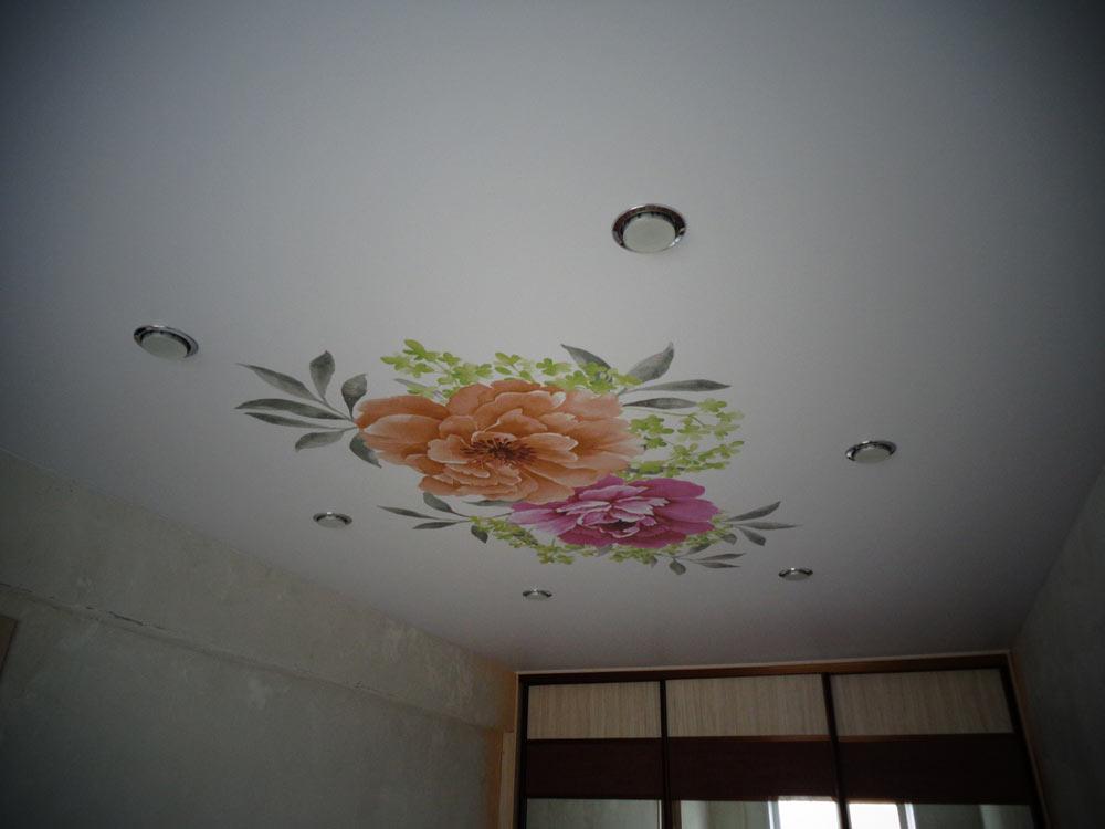 Потолки фотопечать потолки цветы